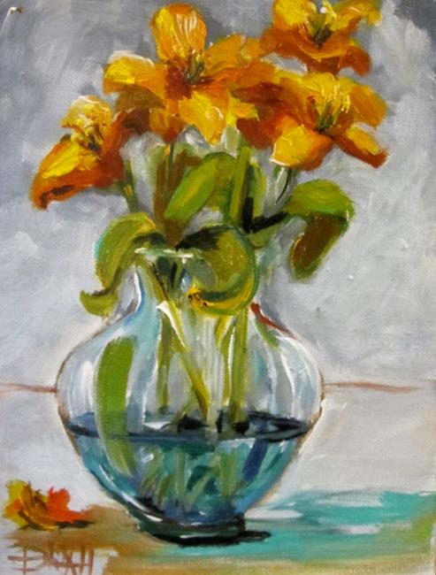 Art: Blue Vase with Flowers by Artist Delilah Smith