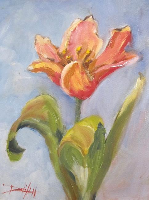 Art: Peach Tulip by Artist Delilah Smith