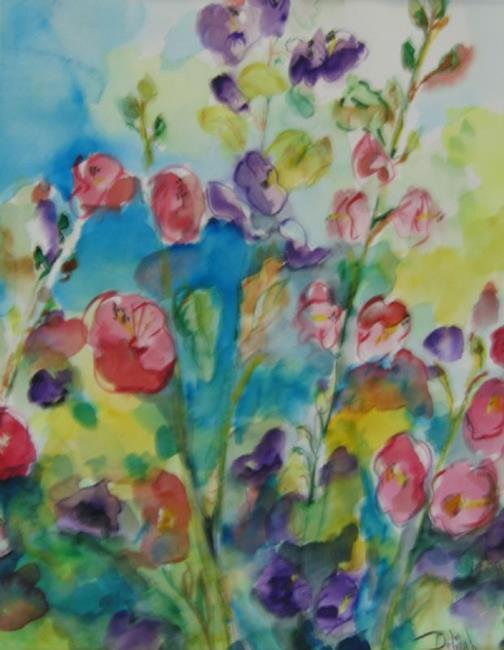 Art: Hollyhocks. SOLD by Artist Delilah Smith