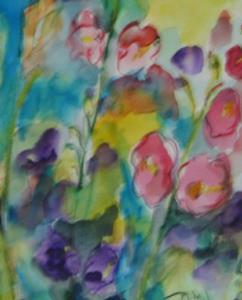Detail Image for art Hollyhocks. SOLD