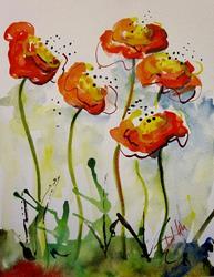 Art: Orange Poppies by Artist Delilah Smith