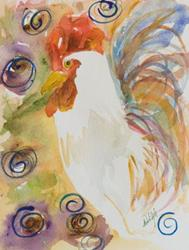 Art: Abstract Rooster-sold by Artist Delilah Smith