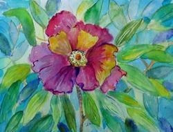 Art: Flower On Blue by Artist Delilah Smith