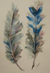 Art: Blue Feather-SOLD by Artist Delilah Smith