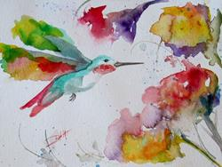 Art: Humming Bird and Flower by Artist Delilah Smith