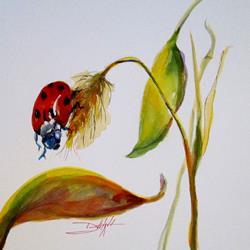 Art: Lady Bug on Leaf by Artist Delilah Smith