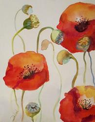 Art: Swing Time Poppies-SOLD by Artist Delilah Smith