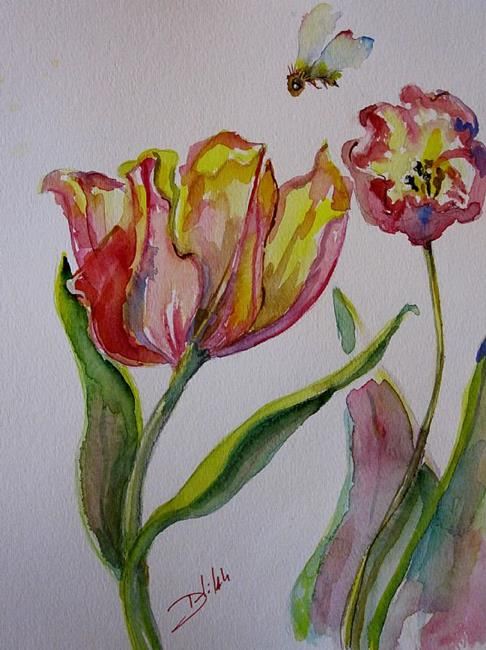 Art: Tulips and Bee by Artist Delilah Smith