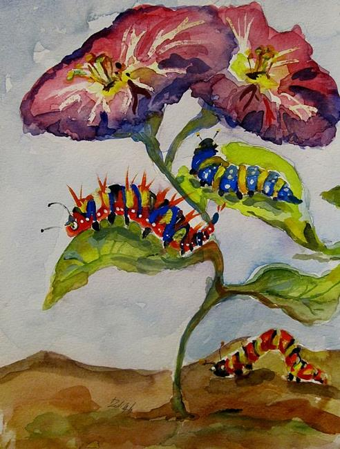Art: Caterpillars and Flowers by Artist Delilah Smith