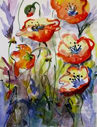 Art: Expressions of Poppies by Artist Delilah Smith