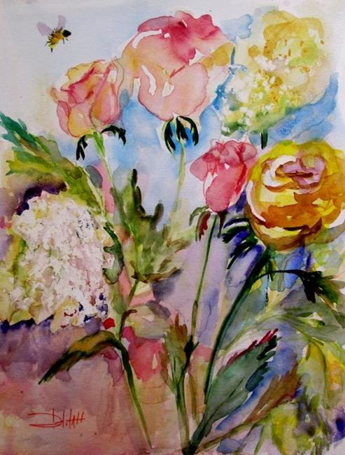 Art: Roses and Queen Ann's Lace by Artist Delilah Smith