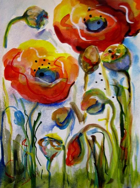 Art: Perky Poppies by Artist Delilah Smith