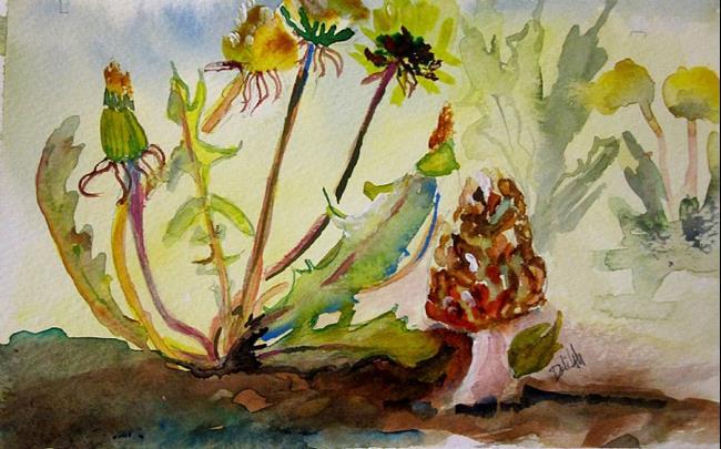 Art: Dandelion and Mushrooms by Artist Delilah Smith