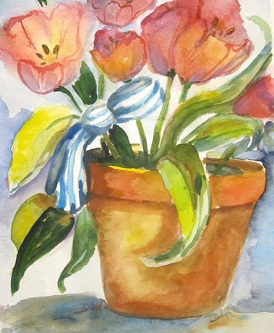 Art: Tulips in Clay Pot-sold by Artist Delilah Smith