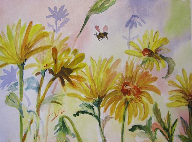 Art: Yellow Dasies and Bee by Artist Delilah Smith