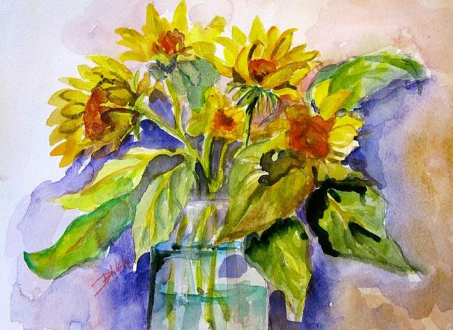 Art: Sunflowers in Water by Artist Delilah Smith