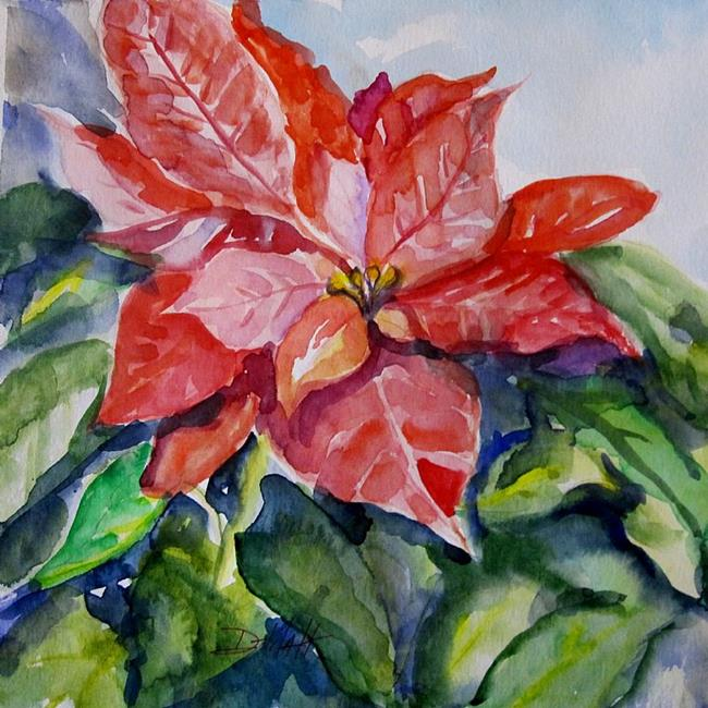 Art: Poinsettia Watercolor by Artist Delilah Smith