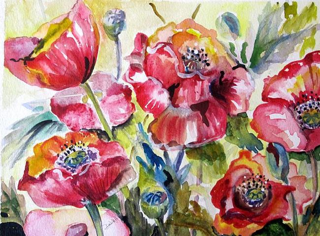 Art: Oriental Poppy Garden by Artist Delilah Smith