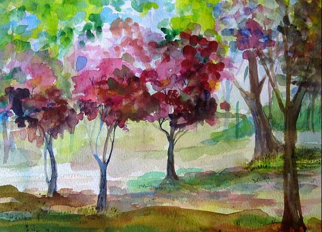 Art: Pink Trees by Artist Delilah Smith