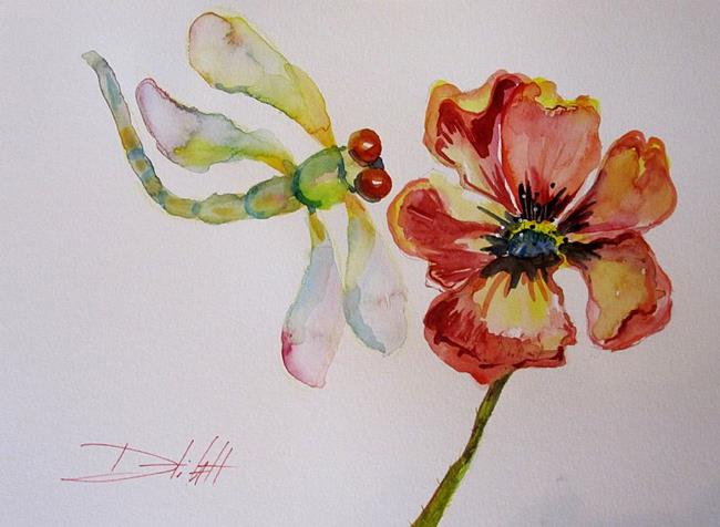 Art: Dragonfly and a Red Poppy by Artist Delilah Smith