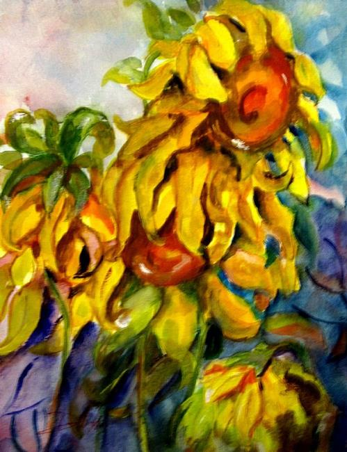 Art: Weeping Sunflowers by Artist Delilah Smith