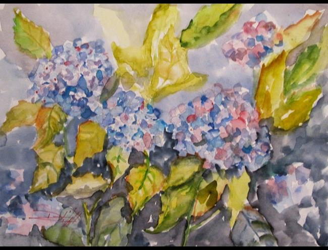 Art: Blue Hydrangea by Artist Delilah Smith