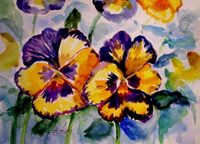 Art: Purple and Yellow Pansies by Artist Delilah Smith