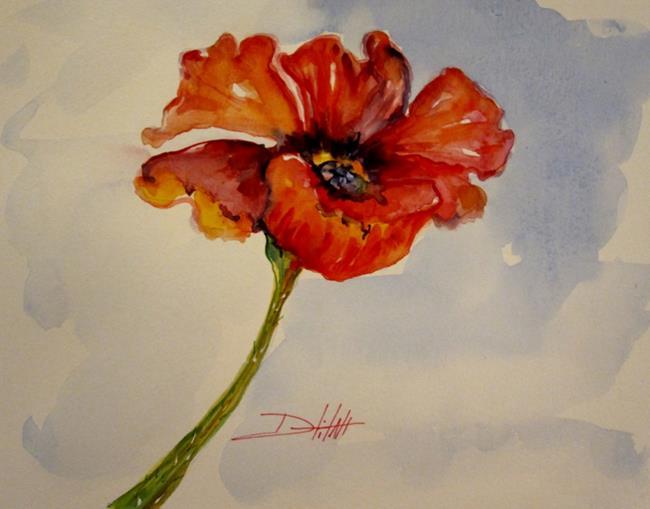 Art: A SIngle Poppy No.3 by Artist Delilah Smith