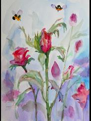 Art: Rose Buds in Pink by Artist Delilah Smith