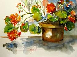 Art: Geraniums-SOLD by Artist Delilah Smith