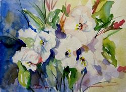 Art: White Flowers by Artist Delilah Smith