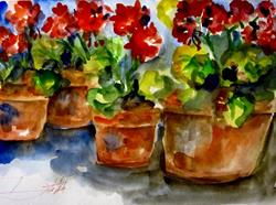 Art: Pots of Geraniums by Artist Delilah Smith