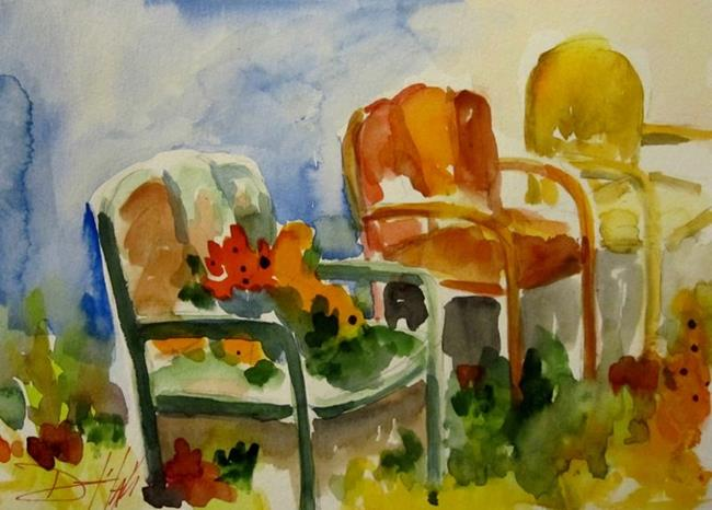 Art: Garden Chairs-sold by Artist Delilah Smith