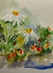 Art: Daisies and Strawberries by Artist Delilah Smith