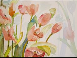 Art: Tulips in Peach by Artist Delilah Smith