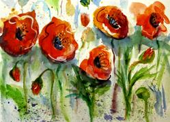 Art: Shinny Red Poppies by Artist Delilah Smith