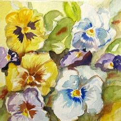 Art: Pansies on Parade-SOLD by Artist Delilah Smith