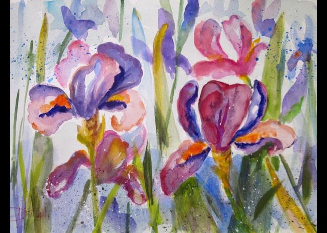 Art: Pink And Purple Iris by Artist Delilah Smith