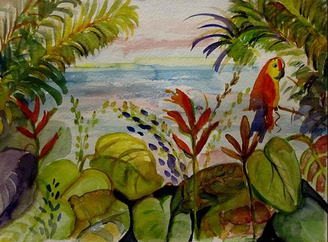 Art: Parrot in Paradise by Artist Delilah Smith