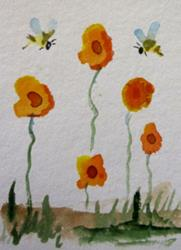 Art: Flowers and Two Bees Aceo by Artist Delilah Smith