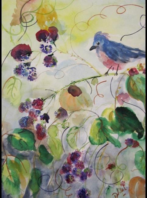 Art: Robin and Raspberries by Artist Delilah Smith