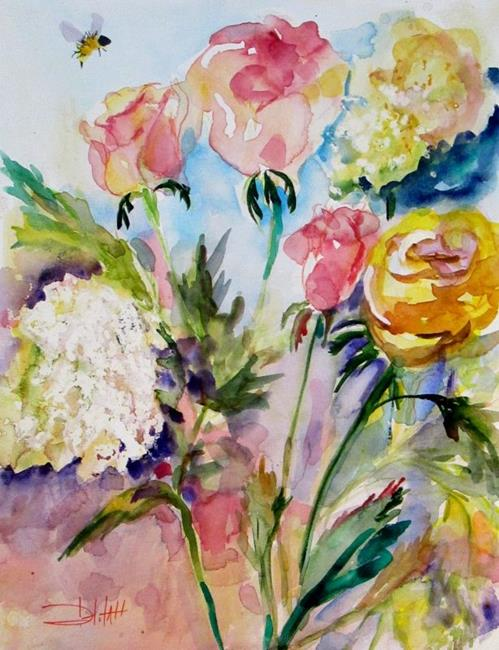 Art: Roses and Queen Anns Lace by Artist Delilah Smith