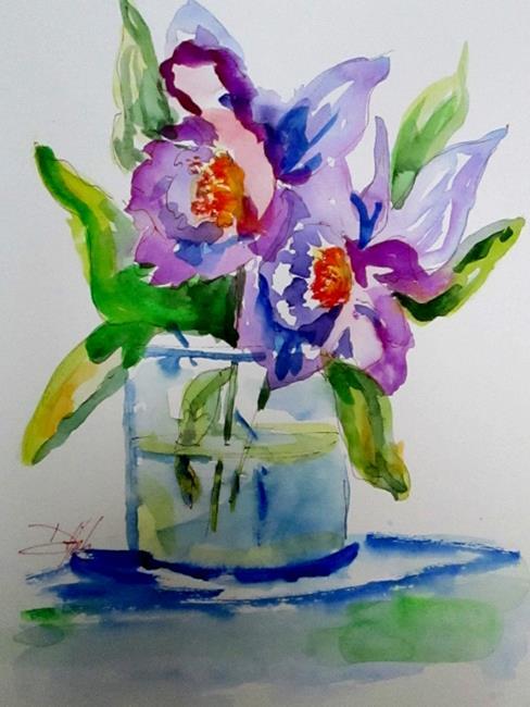 Art: Purple Flowers by Artist Delilah Smith