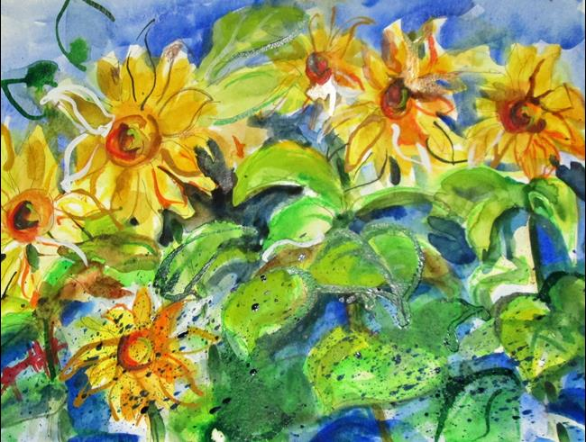 Art: Sunflowers in the Field by Artist Delilah Smith