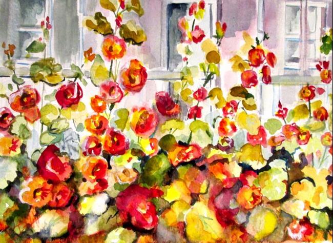 Art: Porch Hollyhocks by Artist Delilah Smith