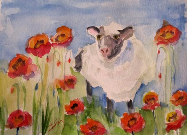 Art: Sheep Deep in Poppies by Artist Delilah Smith