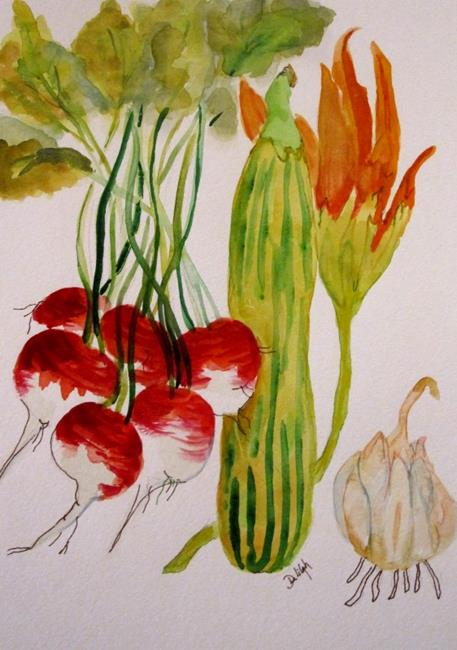 Art: Vegetables and Squash Blossom by Artist Delilah Smith