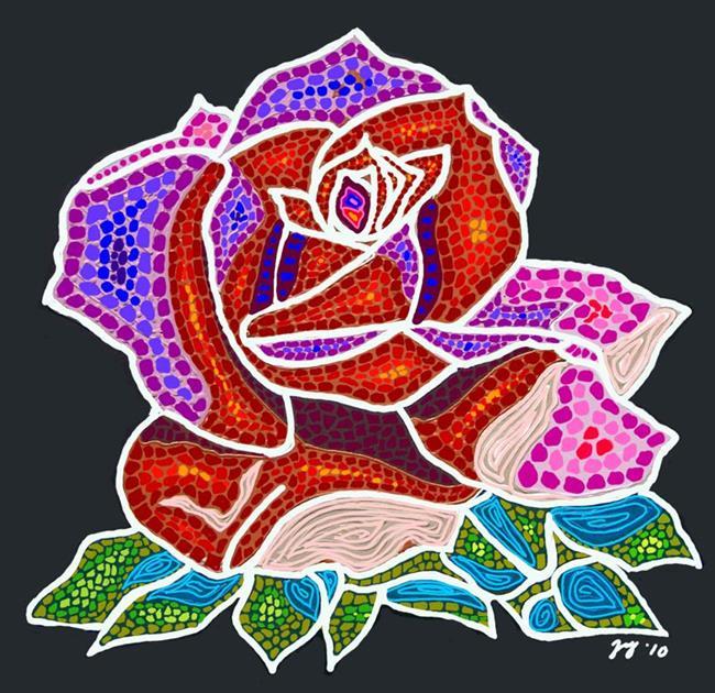 Art: Mosaic Rose by Artist Joan Hall Johnston