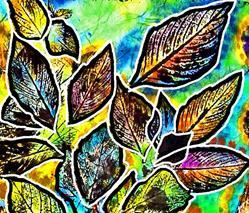 Art: Drifting Leaves on Rice Paper by Artist Joan Hall Johnston