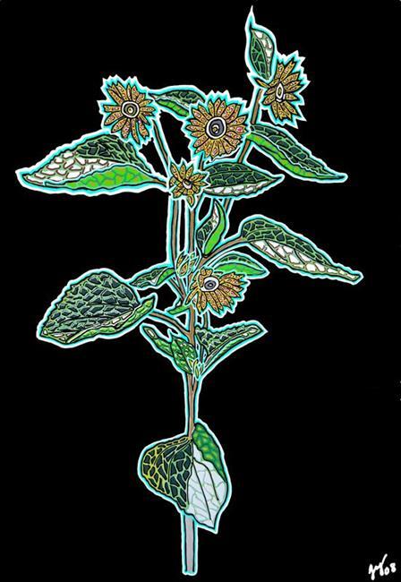 Art: Full Sunflower Digital Mosaic by Artist Joan Hall Johnston